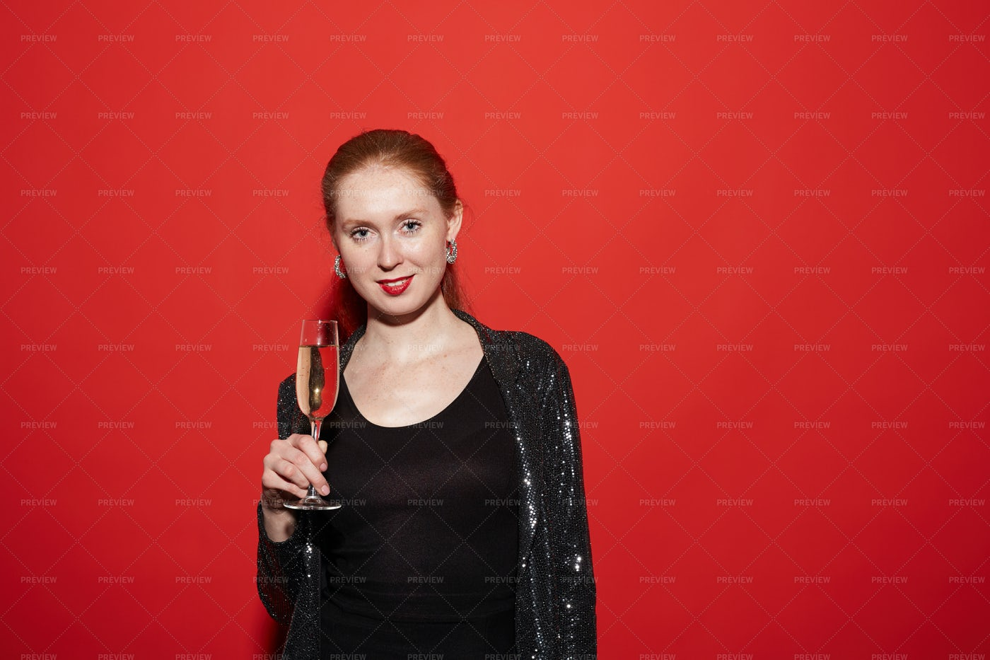 Young Woman Posing With Champagne...: Stock Photos