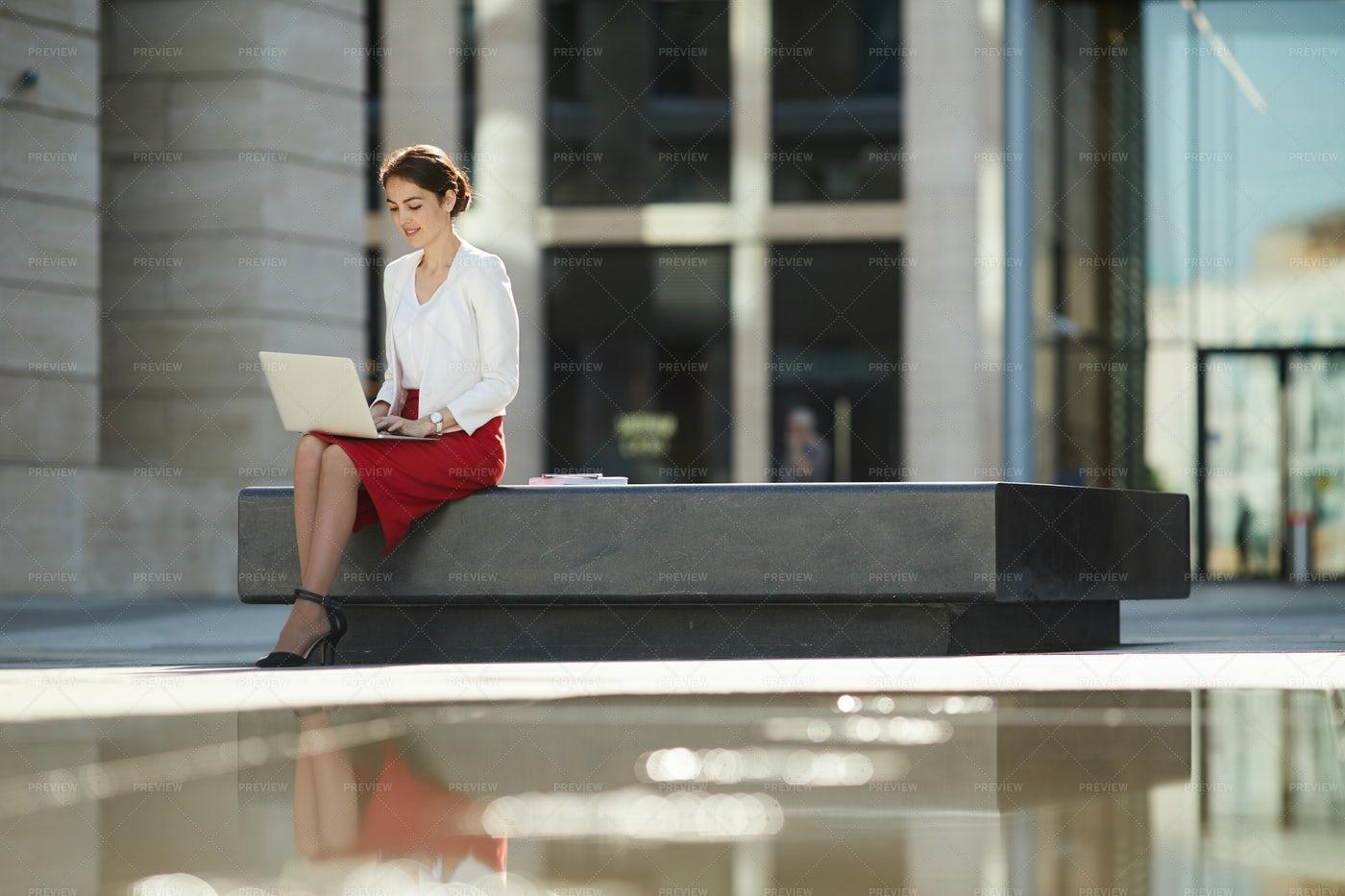 Smiling Businesswoman Working...: Stock Photos