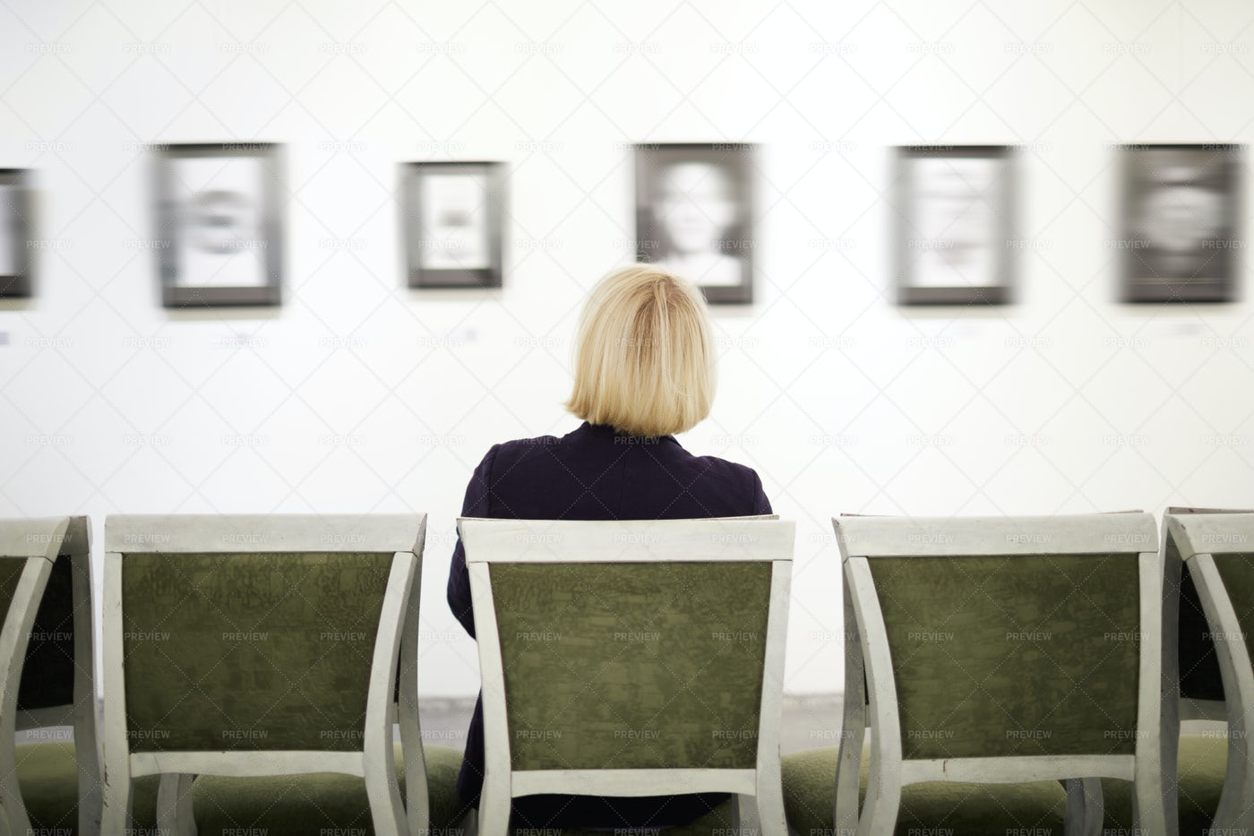 Unrecognizable Woman In Art Gallery: Stock Photos