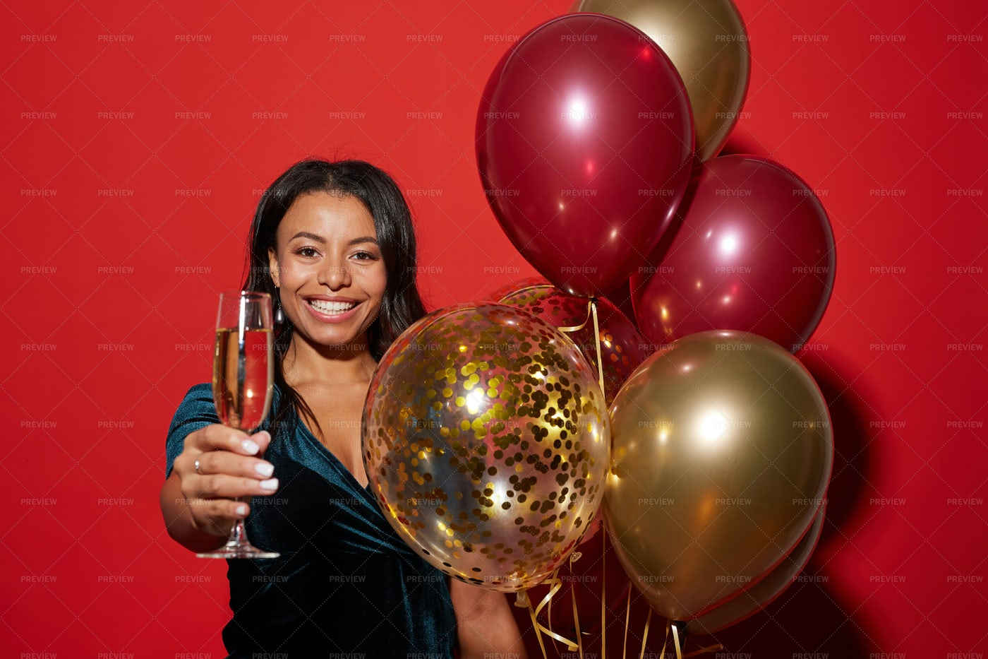Cheerful Mixed-Race Woman Posing...: Stock Photos