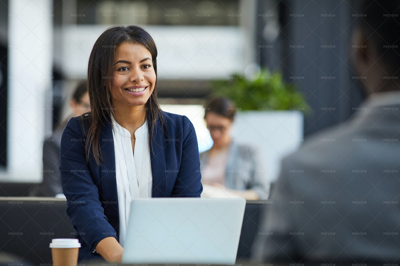 Happy Black Woman Meeting With...: Stock Photos