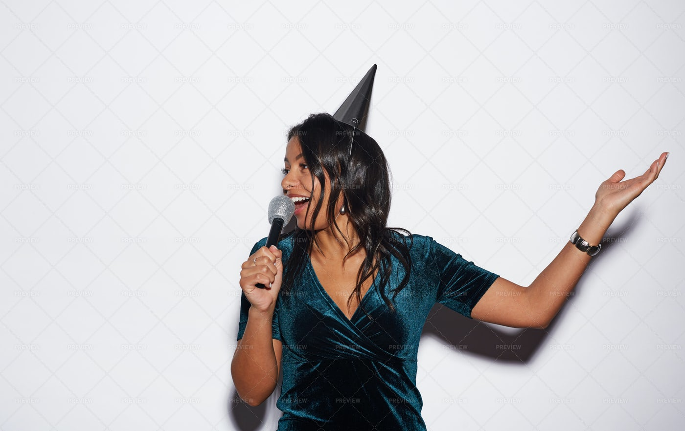 Beautiful Woman Singing At Birthday...: Stock Photos
