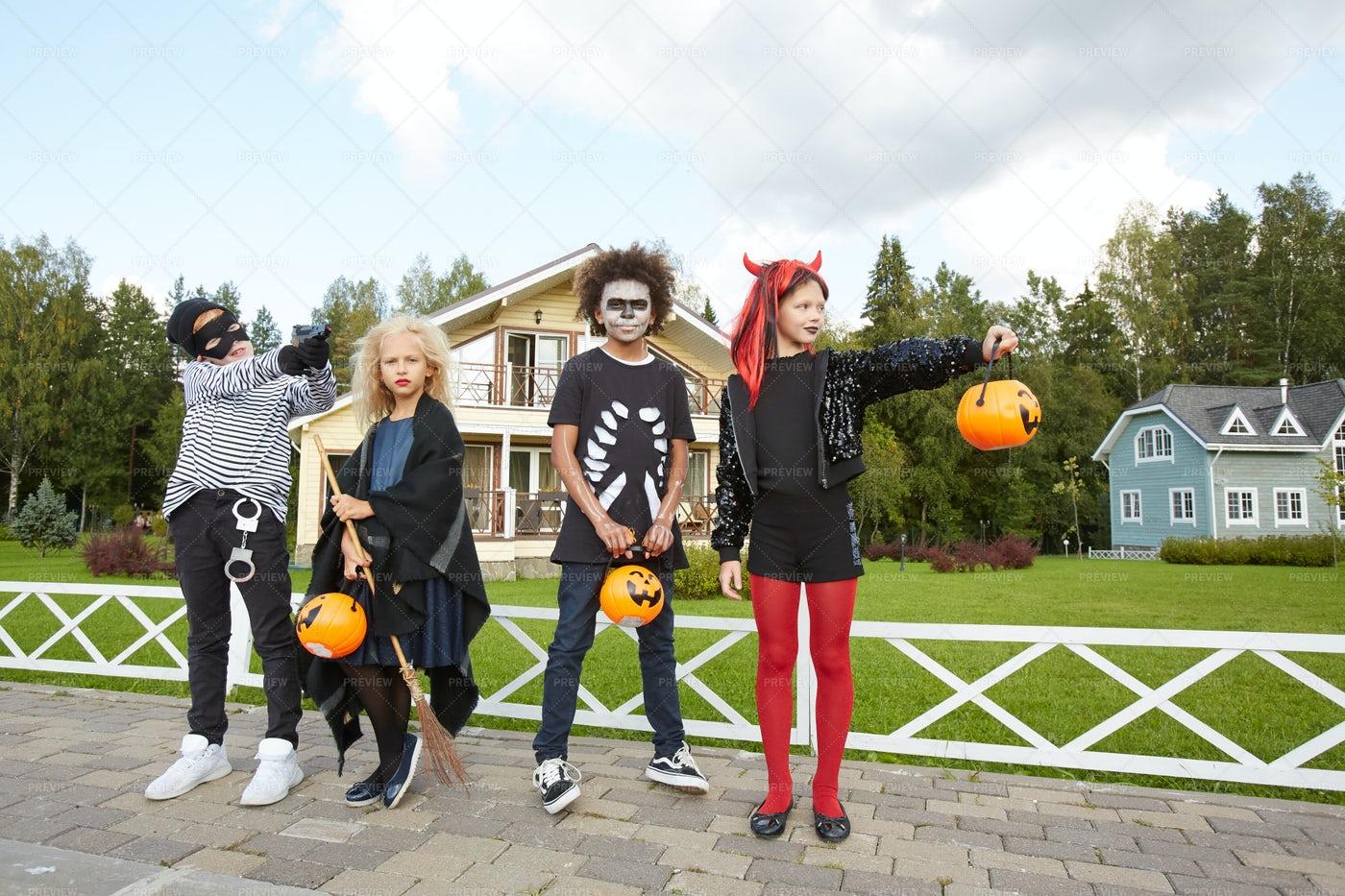 Group Of Kids Enjoying Halloween: Stock Photos