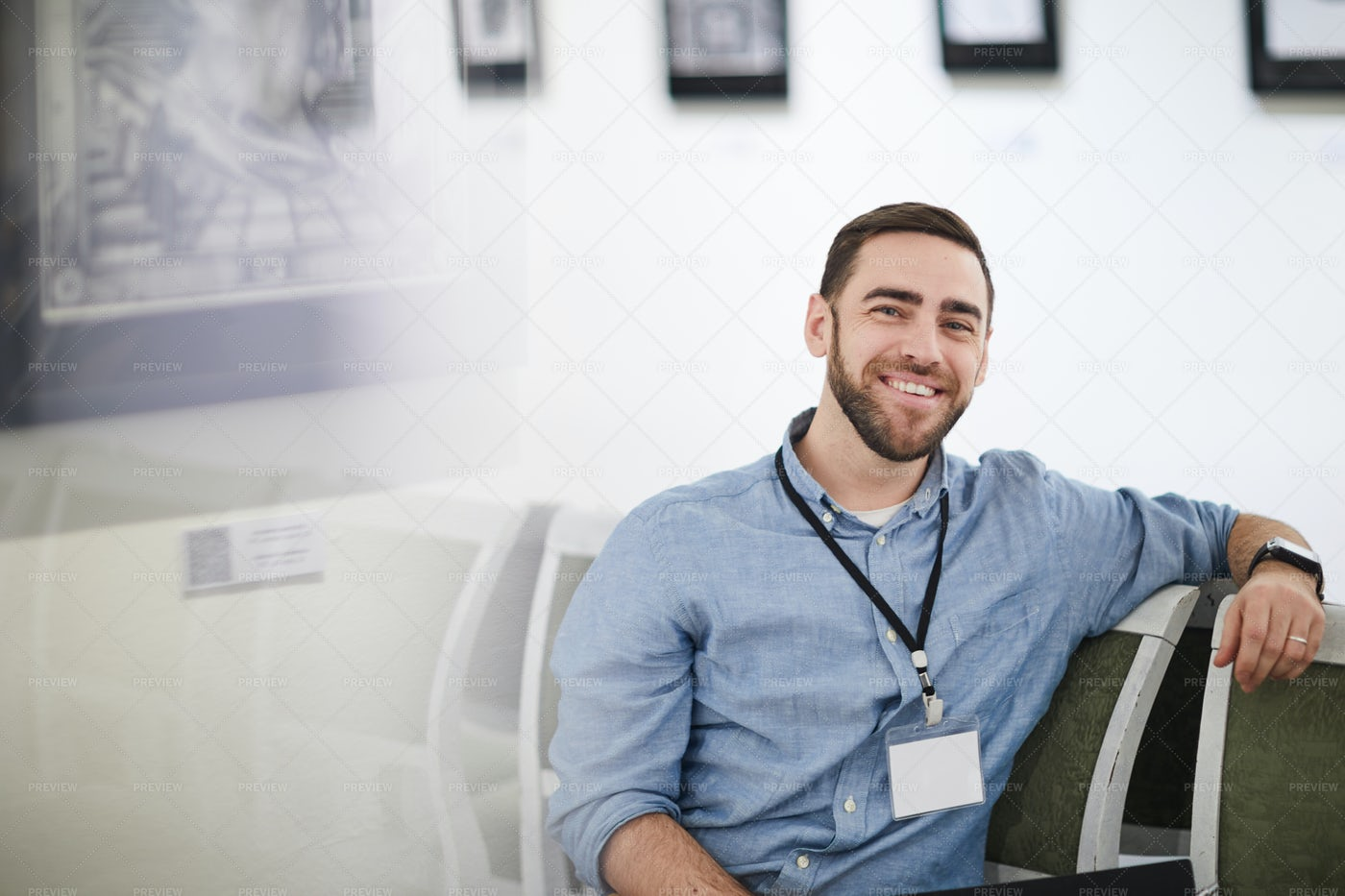 Smiling Bearded Man In Museum: Stock Photos