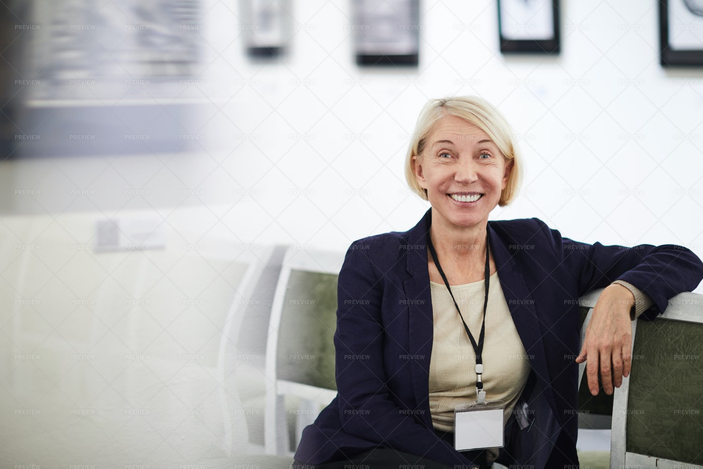 Smiling Mature Woman In Museum: Stock Photos