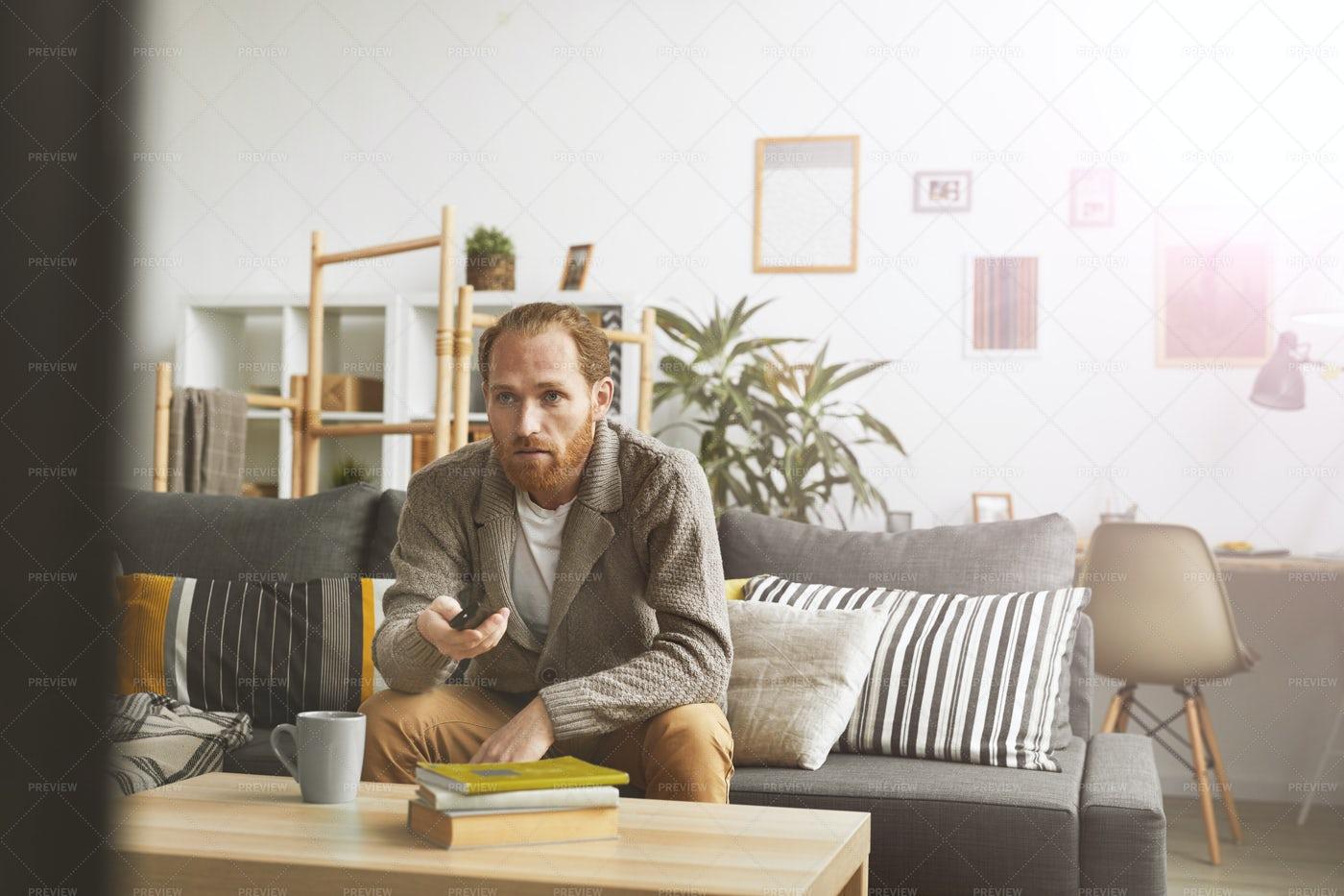 Man Watching TV At Home: Stock Photos
