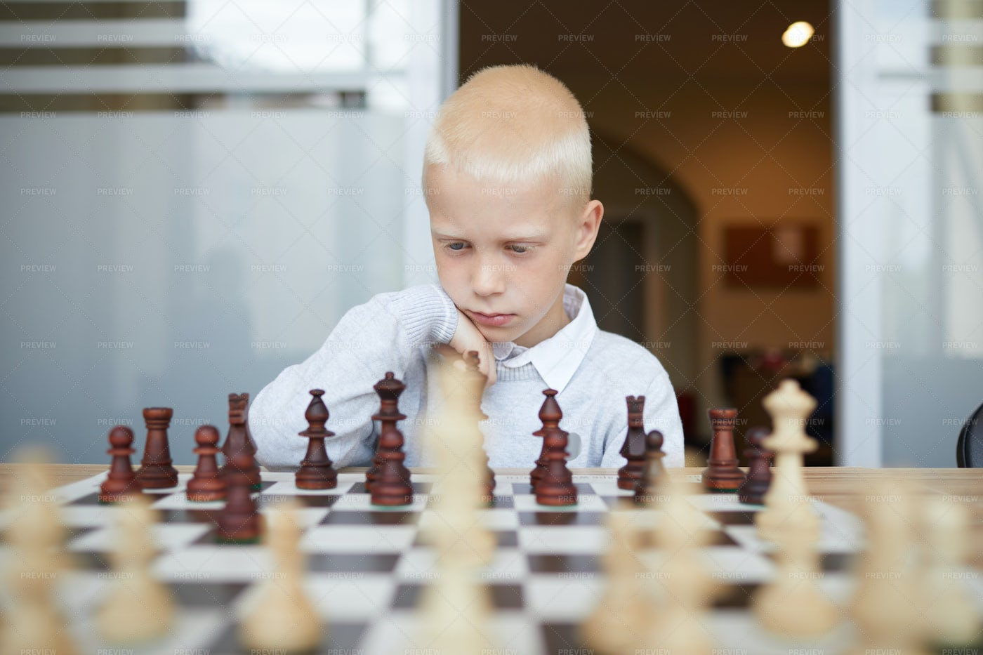 Thoughtful Schoolboy Playing Chess: Stock Photos