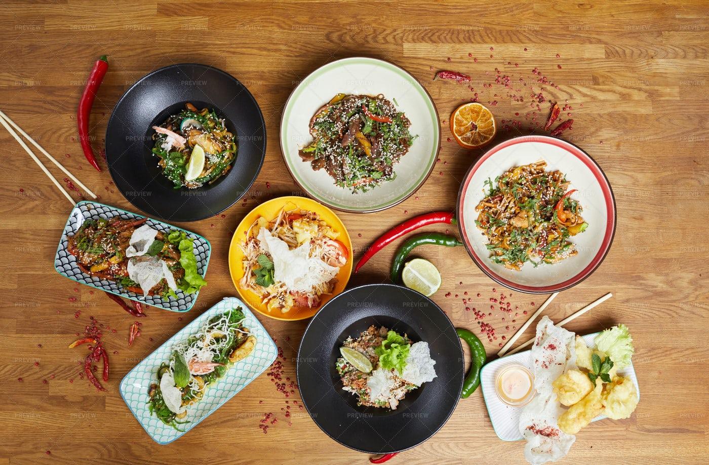 Oriental Cuisine Background: Stock Photos