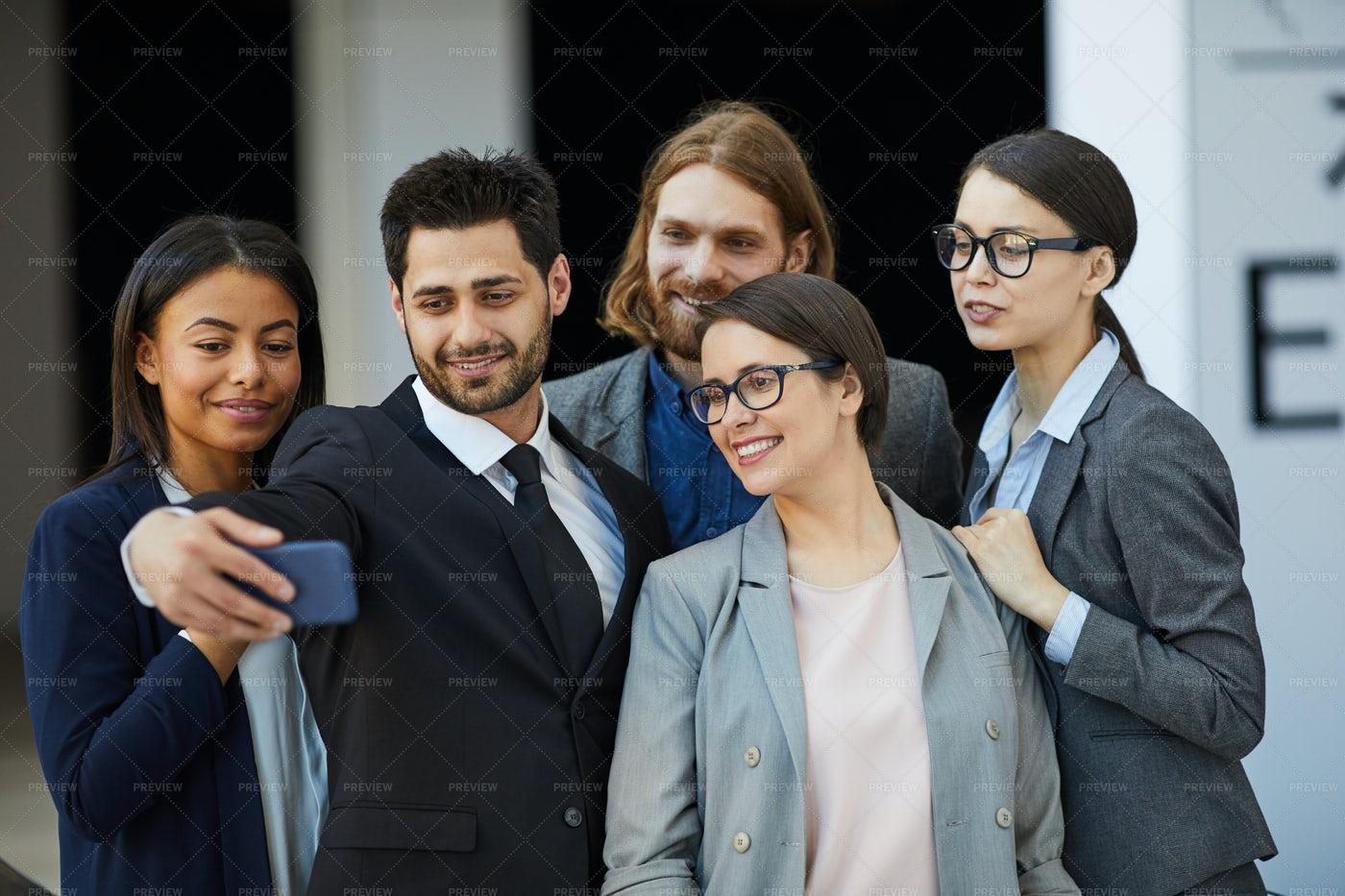 Group Selfie Of Business Team: Stock Photos
