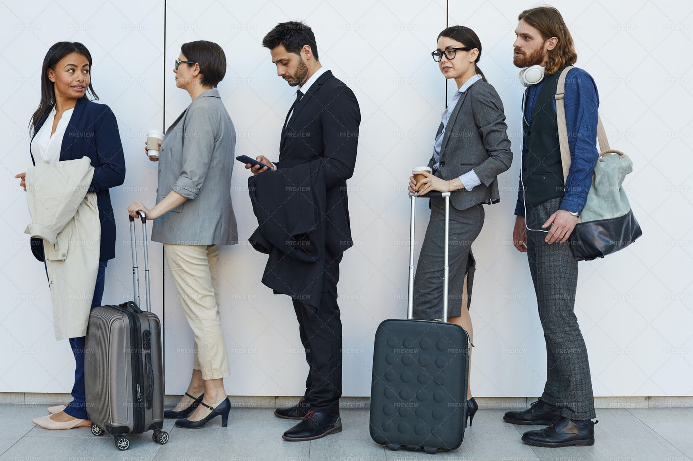 Multi-ethnic People With Luggage...: Stock Photos