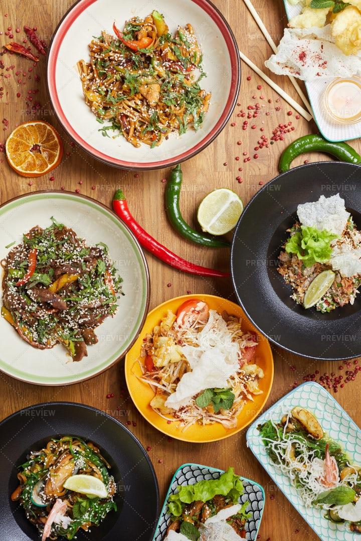 Assortment Of Asian Food Background: Stock Photos