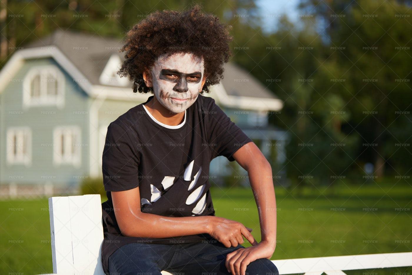 Teenage Boy Wearing Zombie Costume: Stock Photos