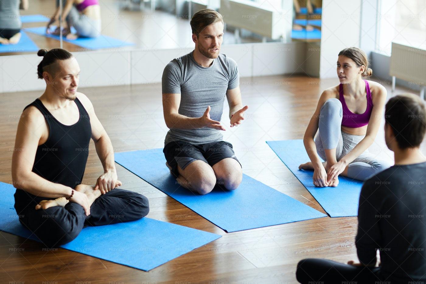 Young Man Asking Question At Yoga...: Stock Photos