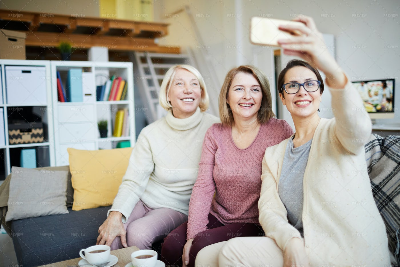 Three Women Taking Selfie: Stock Photos