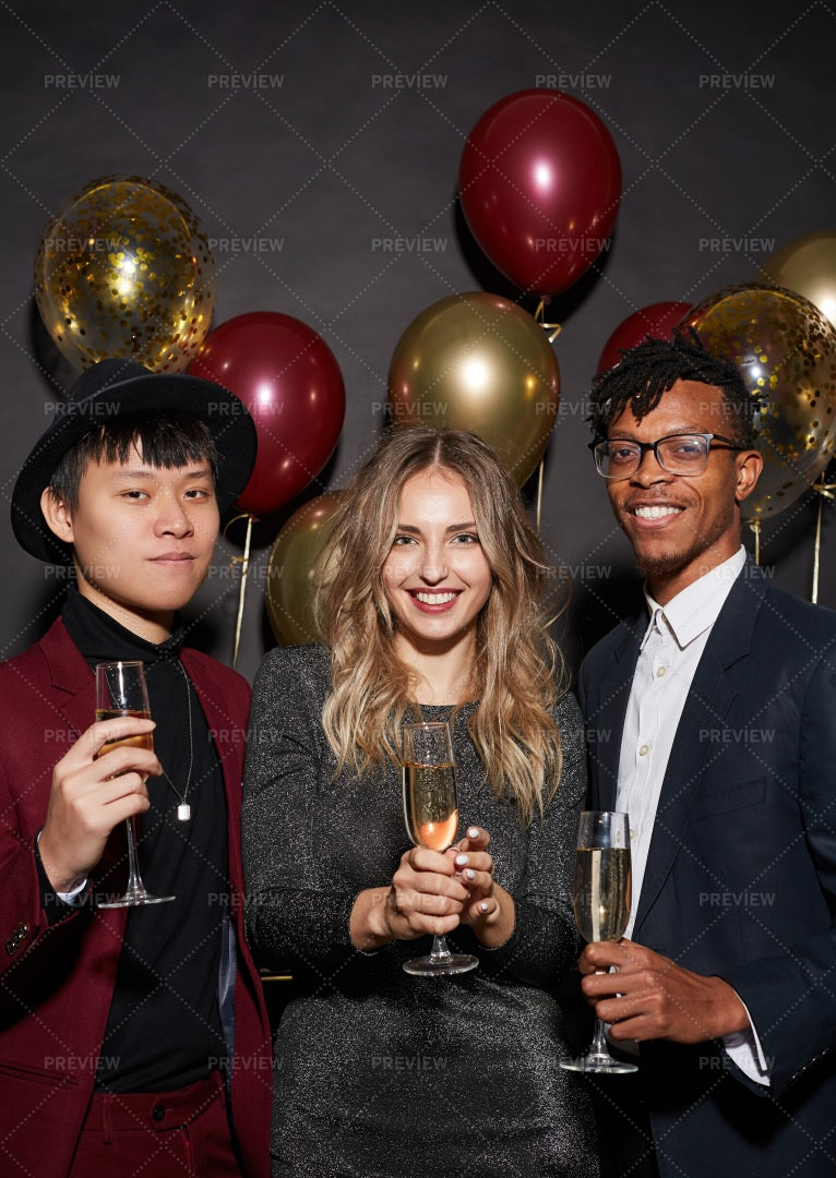 Trendy Young People Posing At Party: Stock Photos