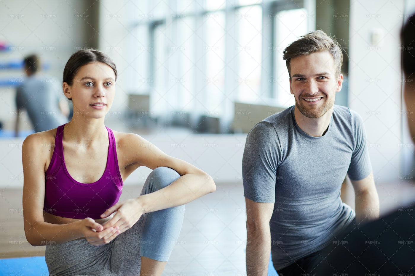 Young People Chatting Before Yoga...: Stock Photos