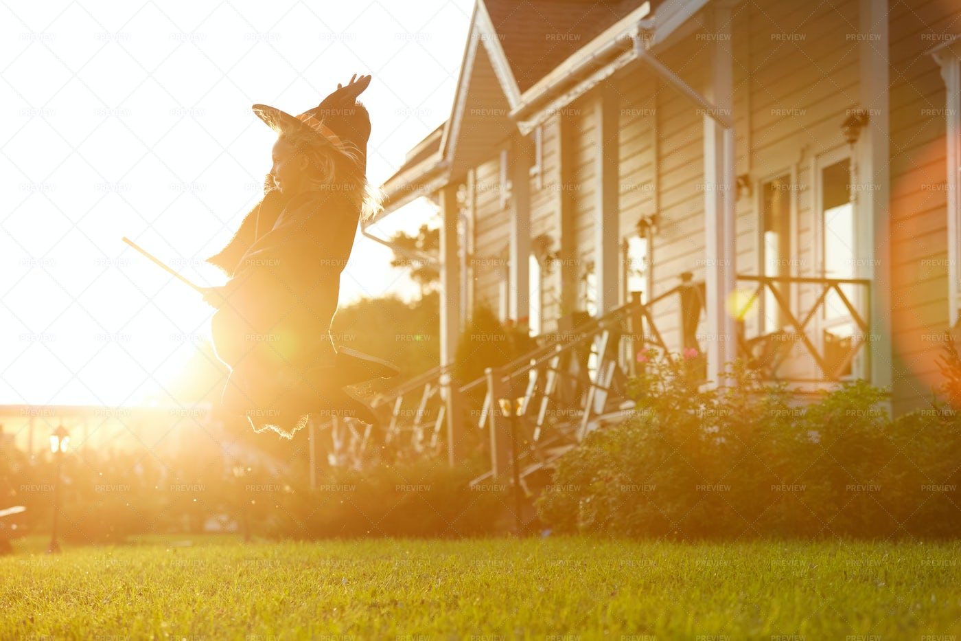 Cute Witch Flying On Broom In...: Stock Photos