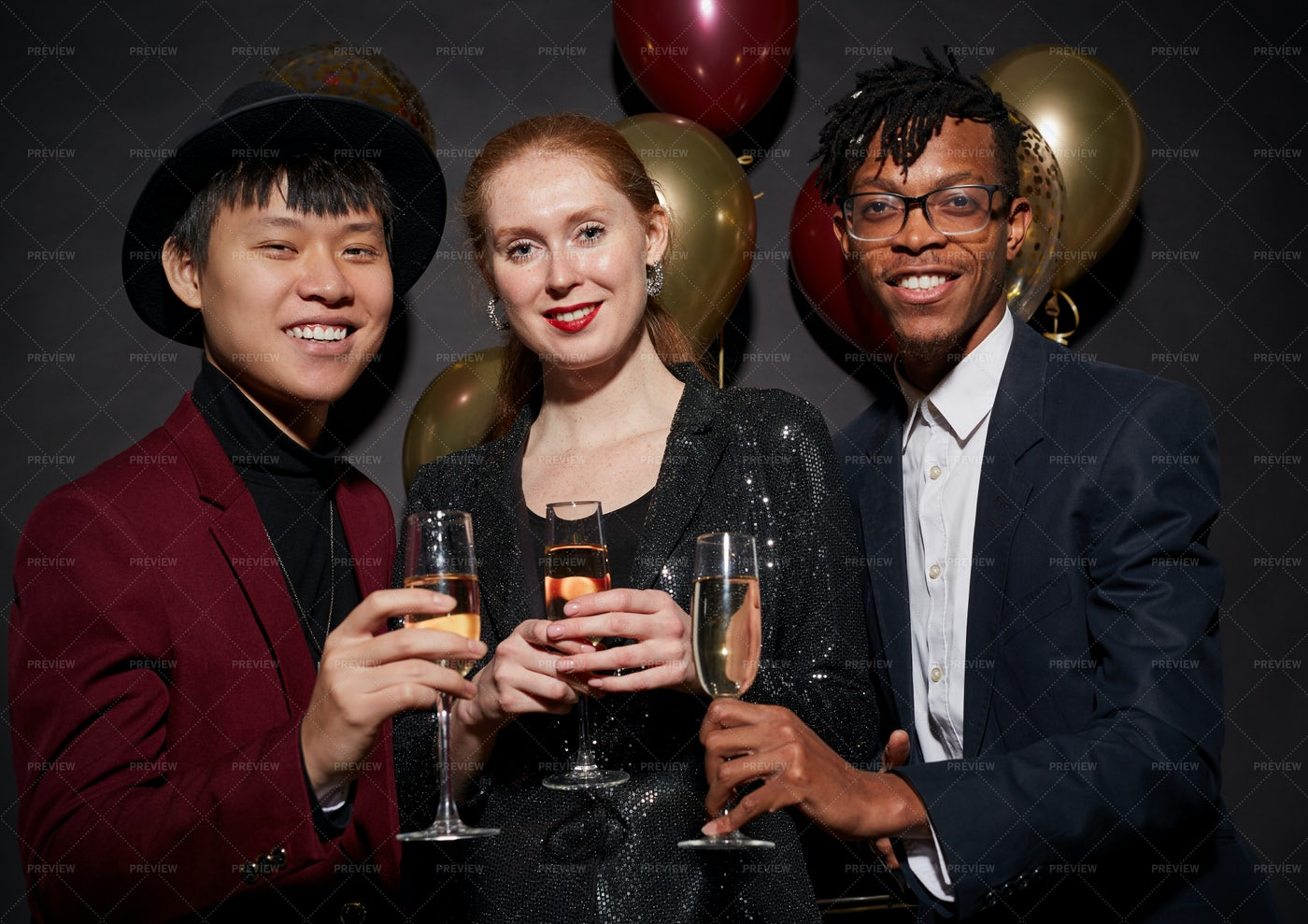 Friends Posing For Party Shot: Stock Photos