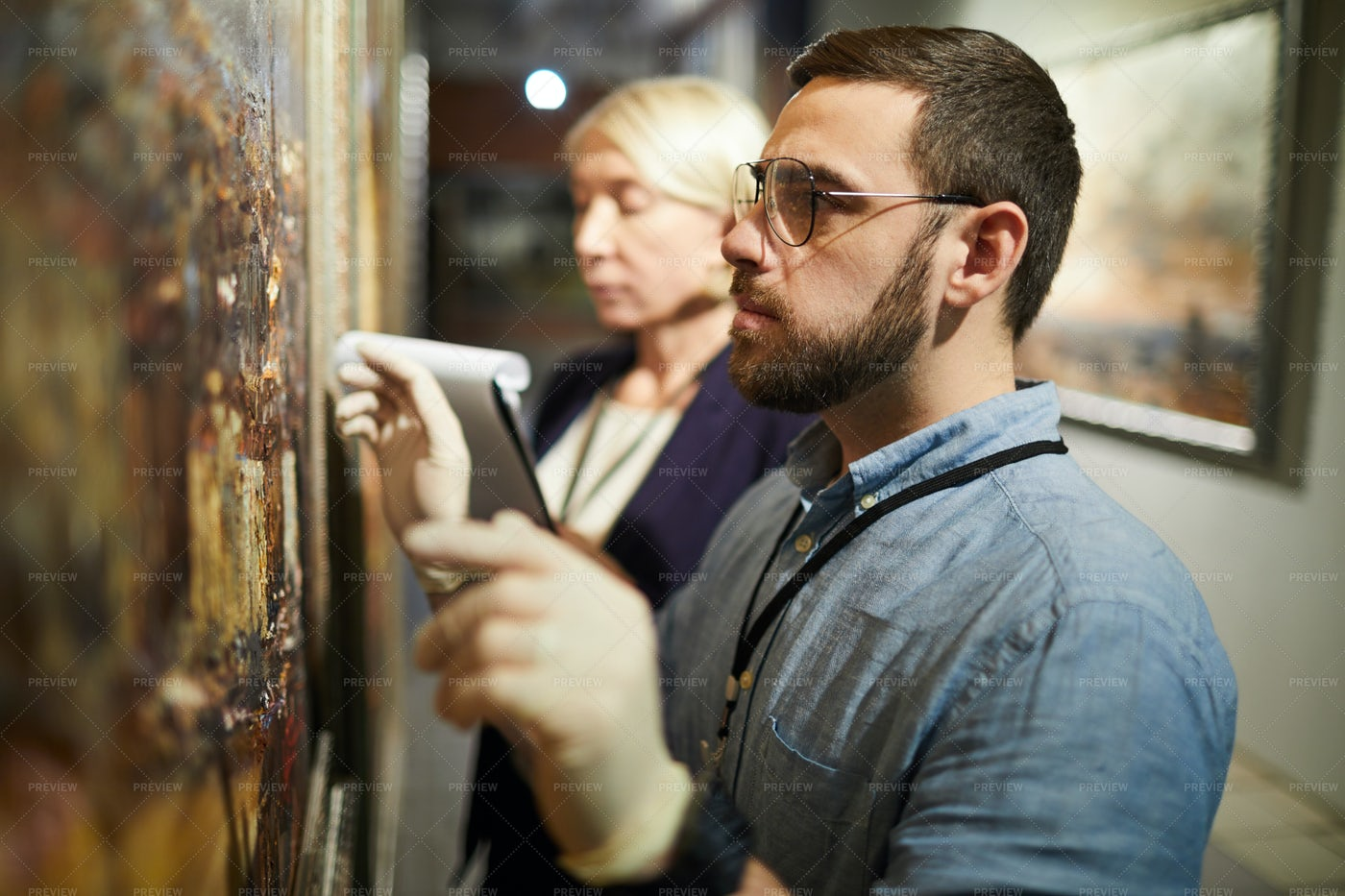 Painting Restoration In Museum: Stock Photos