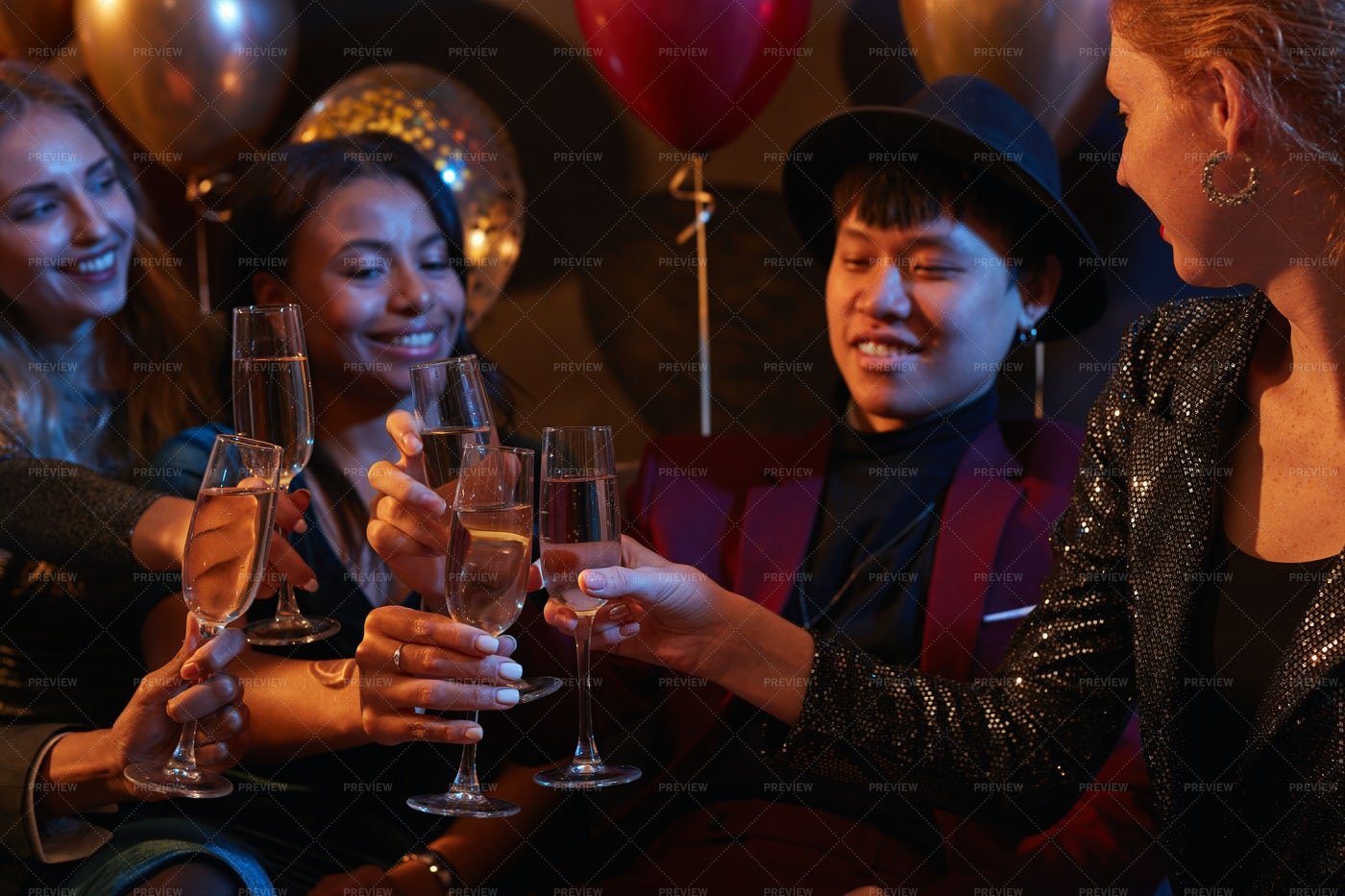 Friends Enjoying Christmas Party: Stock Photos