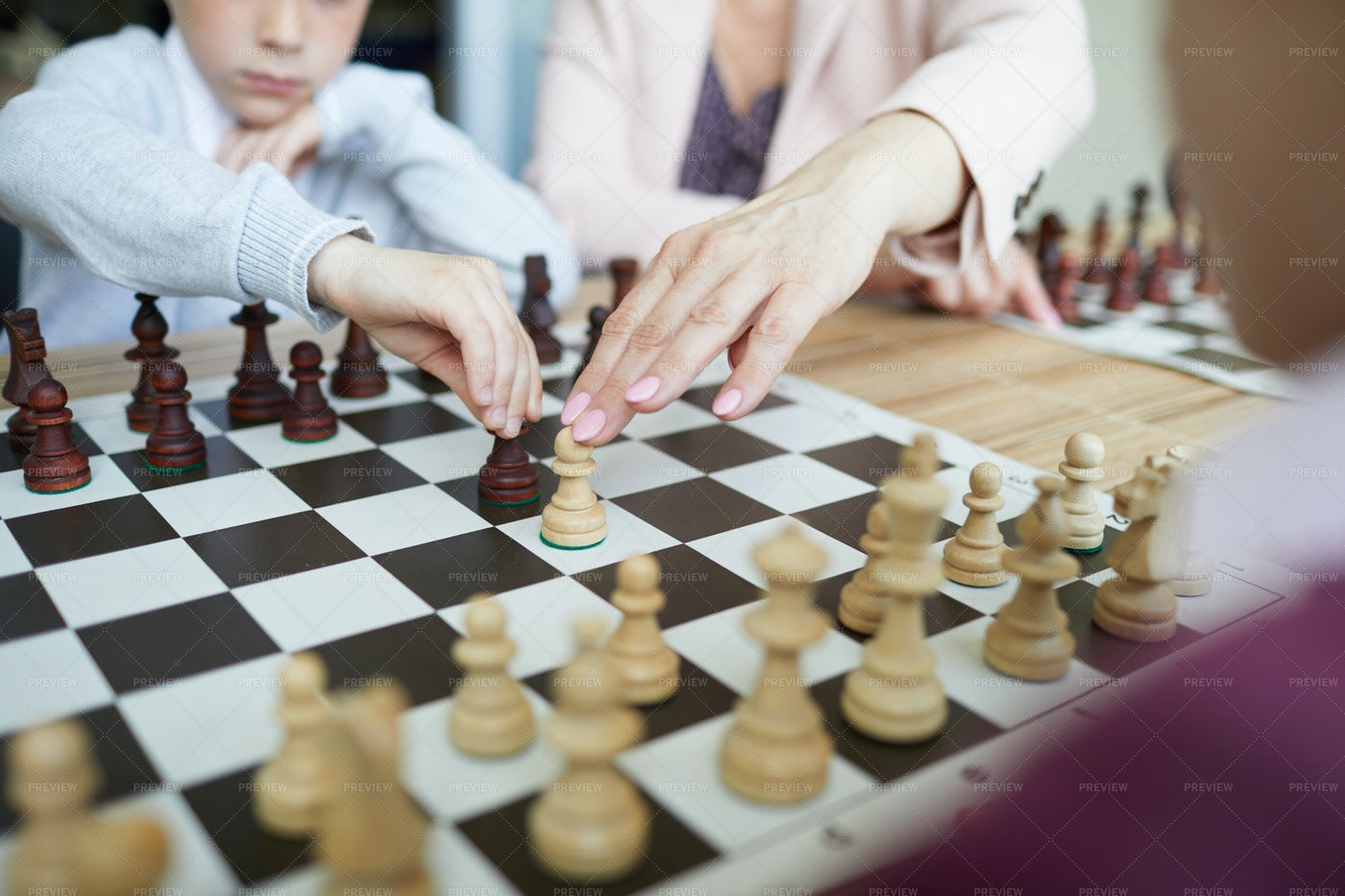 Teacher Showing Chess Combination: Stock Photos