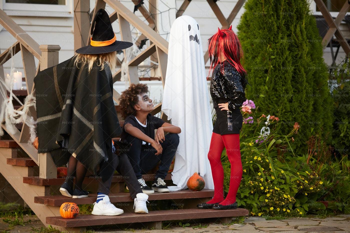 Children Meeting On Halloween: Stock Photos
