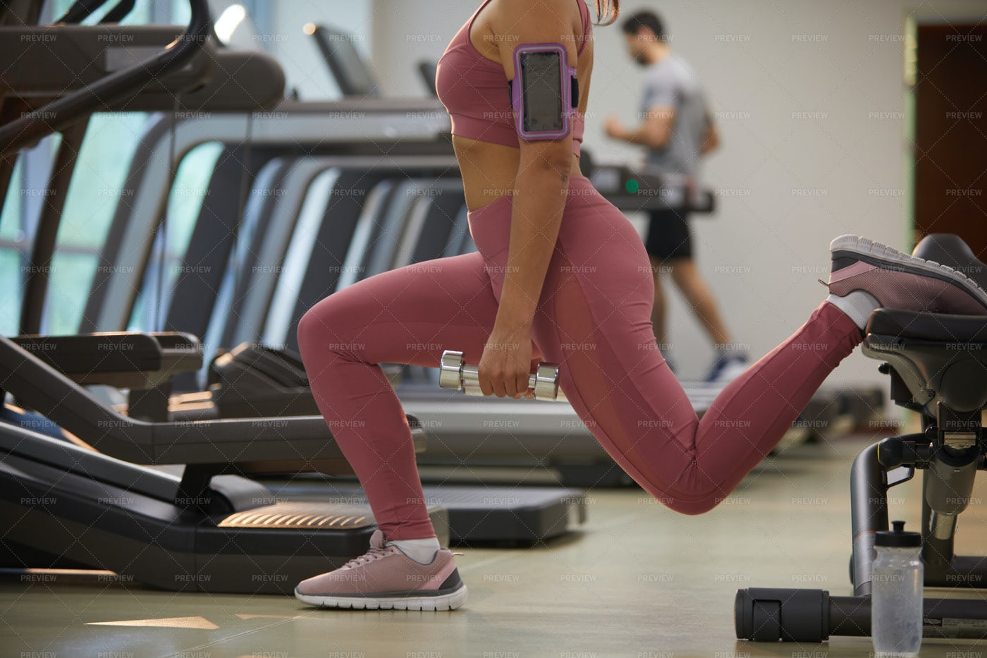 Unrecognizable Woman Working Out In...: Stock Photos