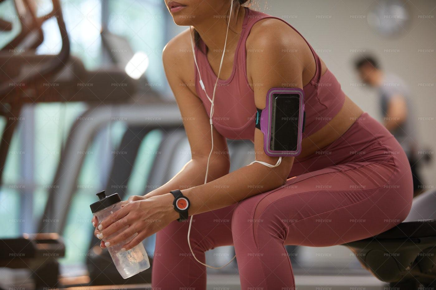 Woman Taking Break In Gym: Stock Photos