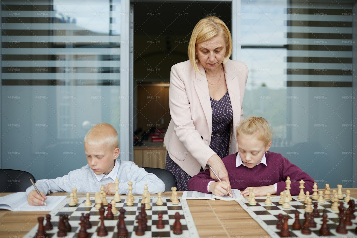 Making Notes About Chess: Stock Photos