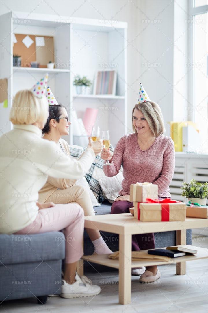Three Women Celebrating Birthday: Stock Photos