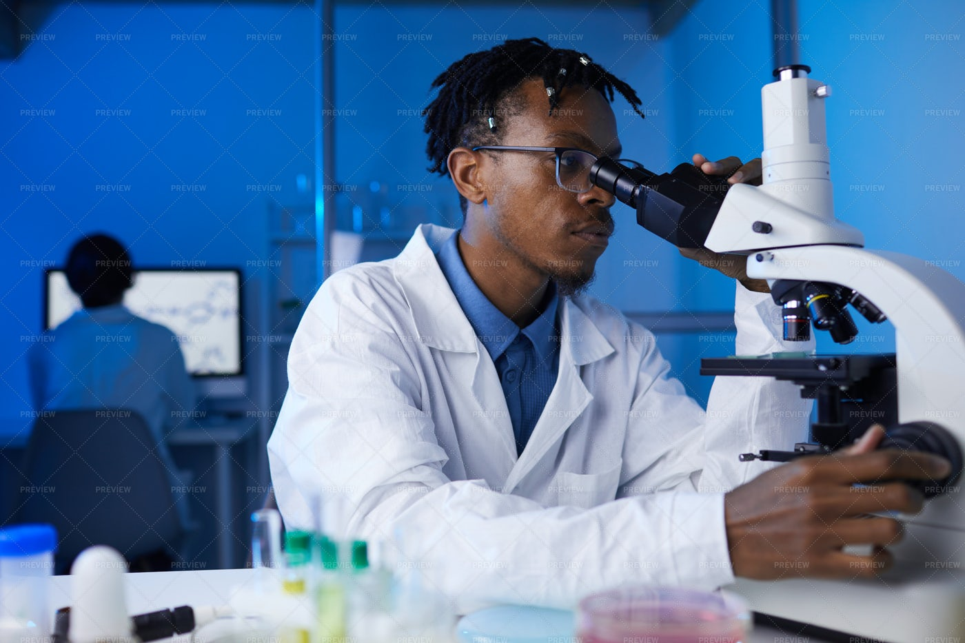 African-American Man Working In...: Stock Photos