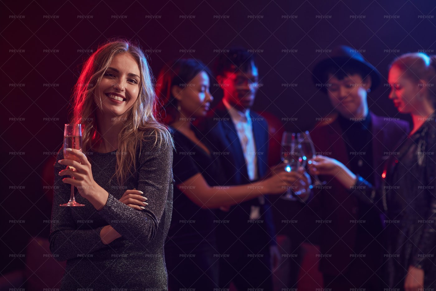 Beautiful Woman Posing In Nightclub: Stock Photos