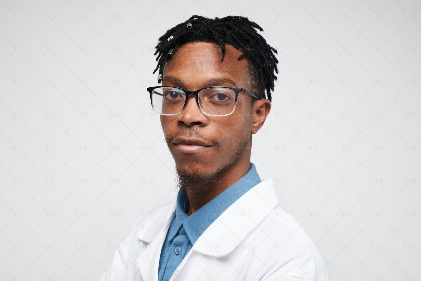 African-American Scientist On White: Stock Photos