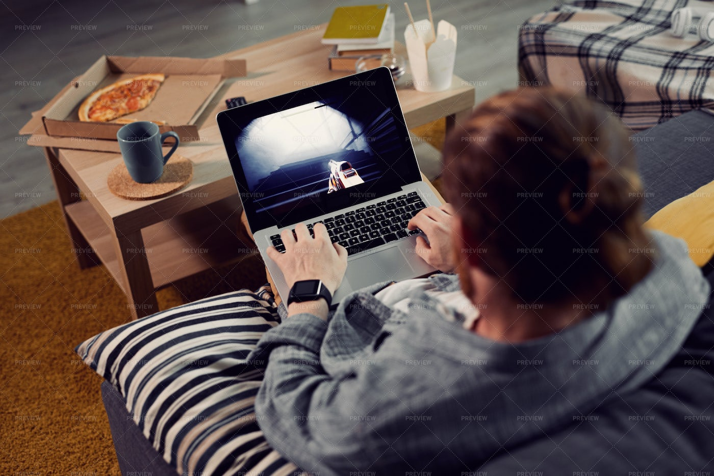 Lazy Man Playing Video Games: Stock Photos