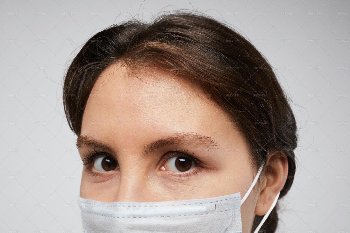 Woman Wearing Face Mask Close Up: Stock Photos