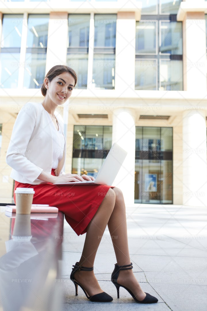 Smiling Businesswoman Working...: Stock Photos