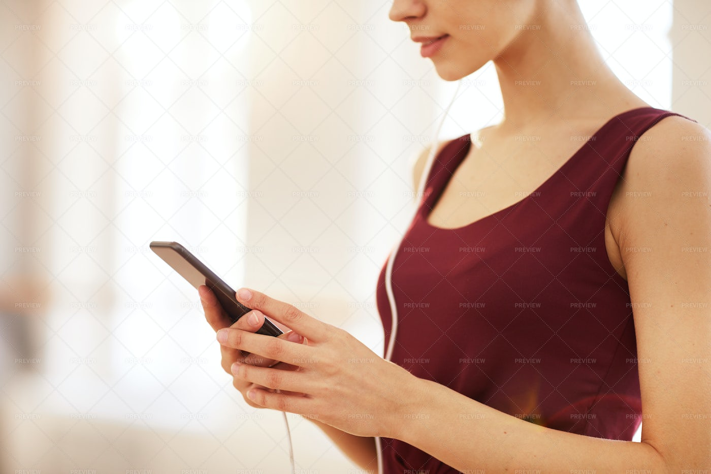 Woman Checking Message On Phone: Stock Photos