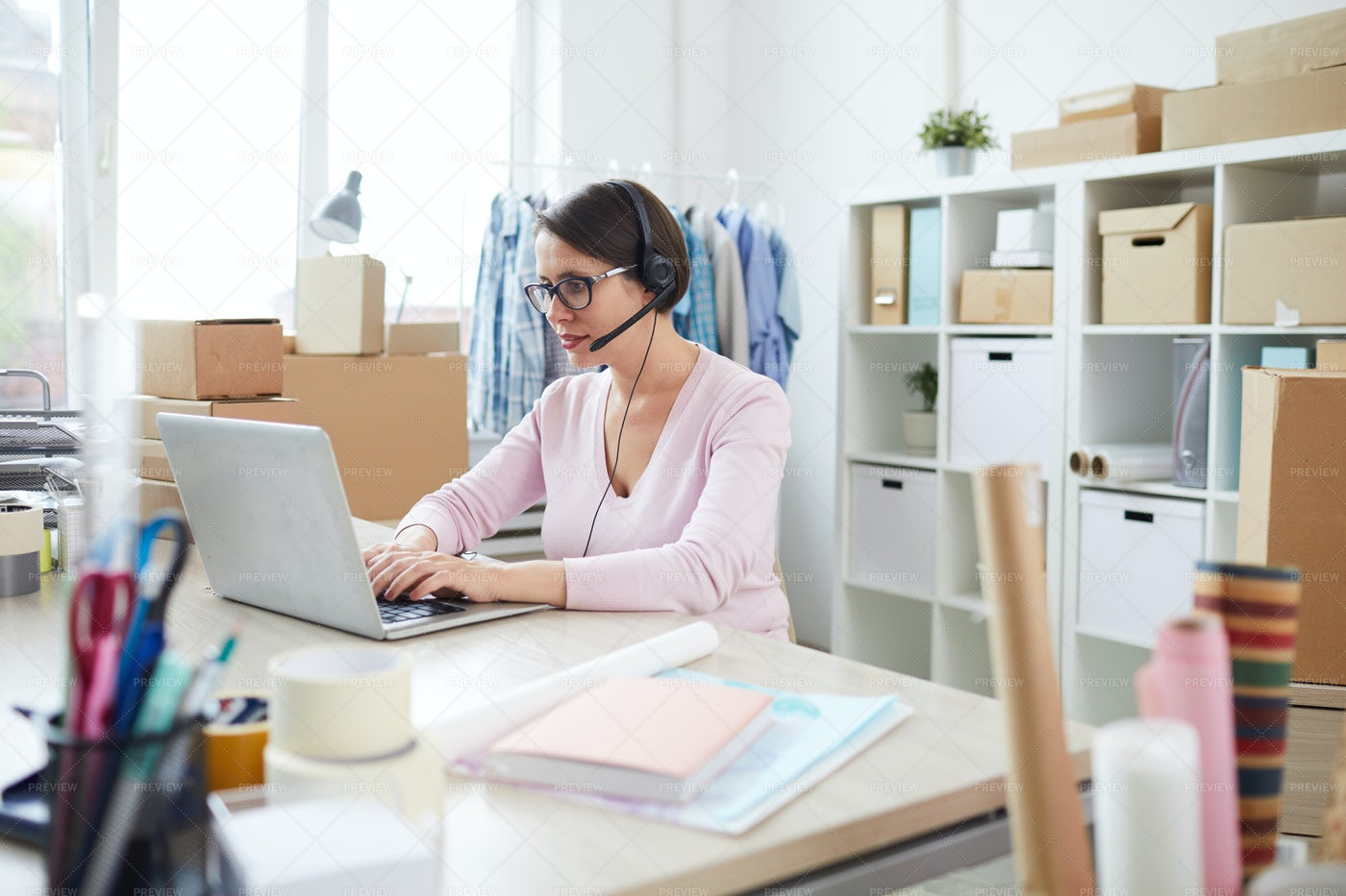 Contemporary Online Shop Manager In...: Stock Photos