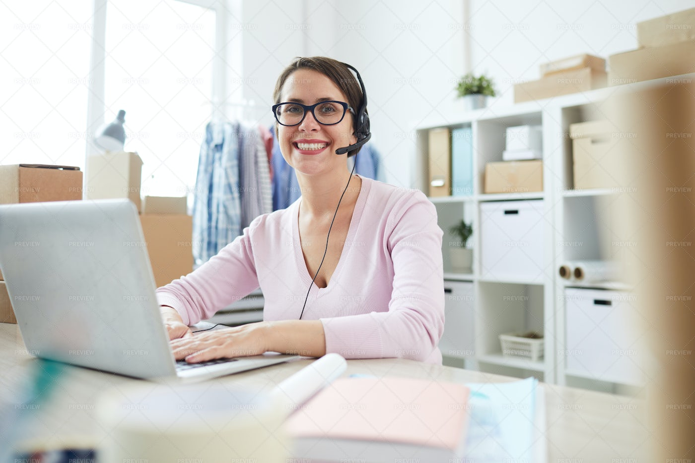 Successful Operator Looking At You...: Stock Photos