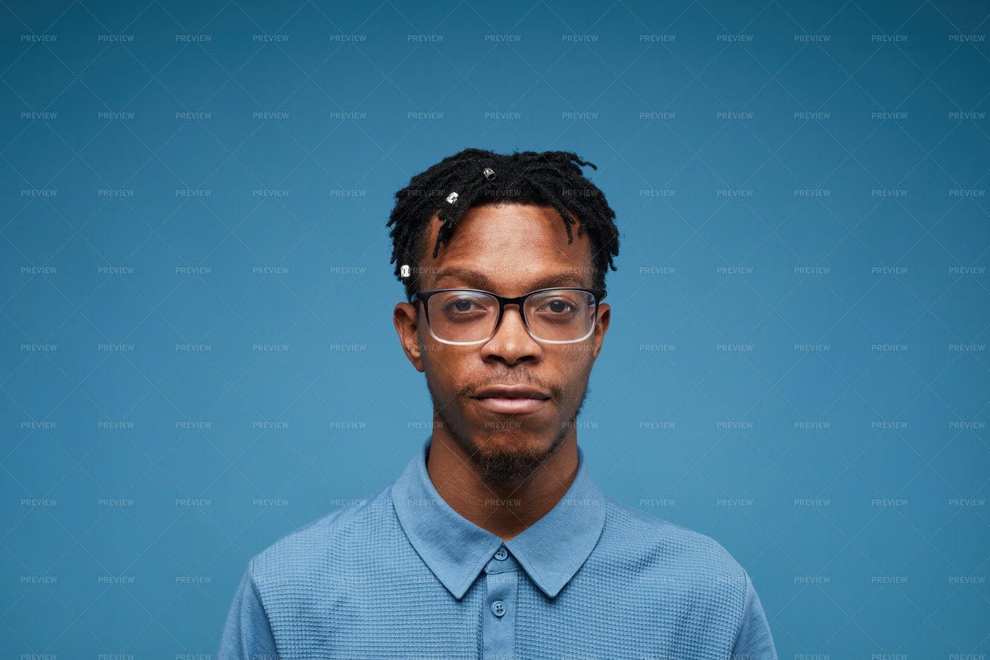 Man Posing On Blue: Stock Photos