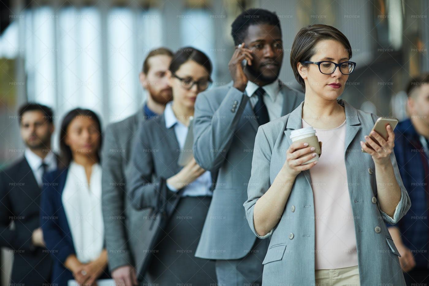 Entrepreneurs Standing In Line: Stock Photos