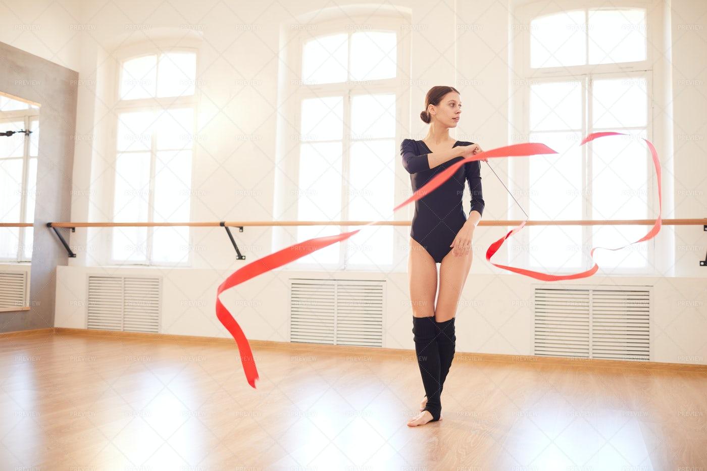 Gymnast Dancing With Ribbon: Stock Photos