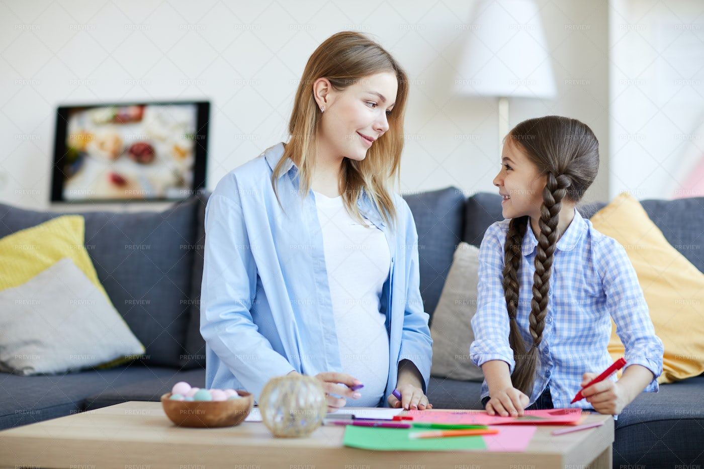 Mother And Daughter Drawing...: Stock Photos