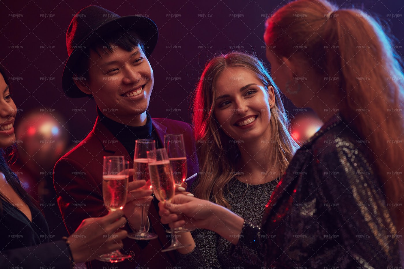 Young People Partying In Nightclub: Stock Photos