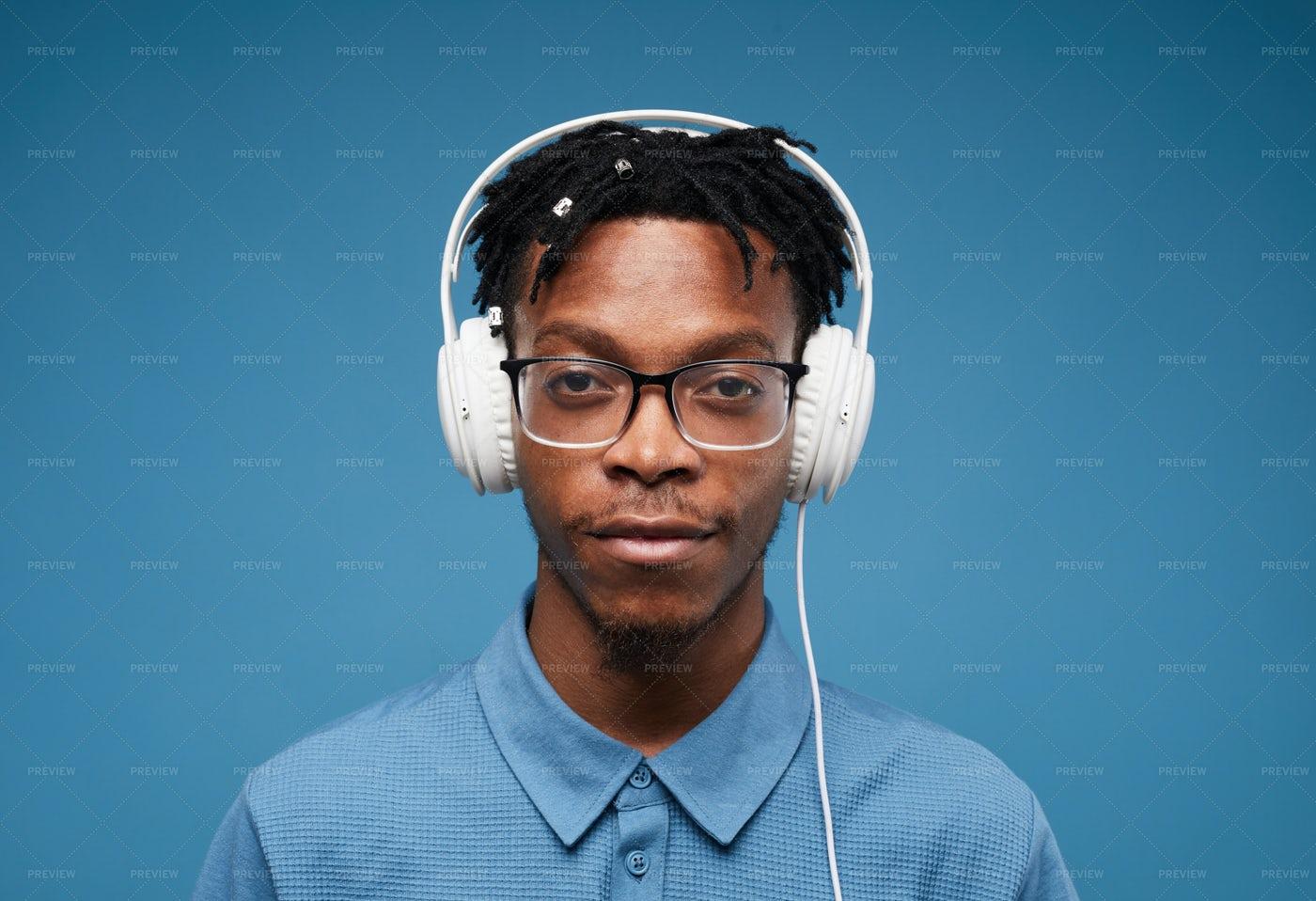 African-American Man In Headphones: Stock Photos