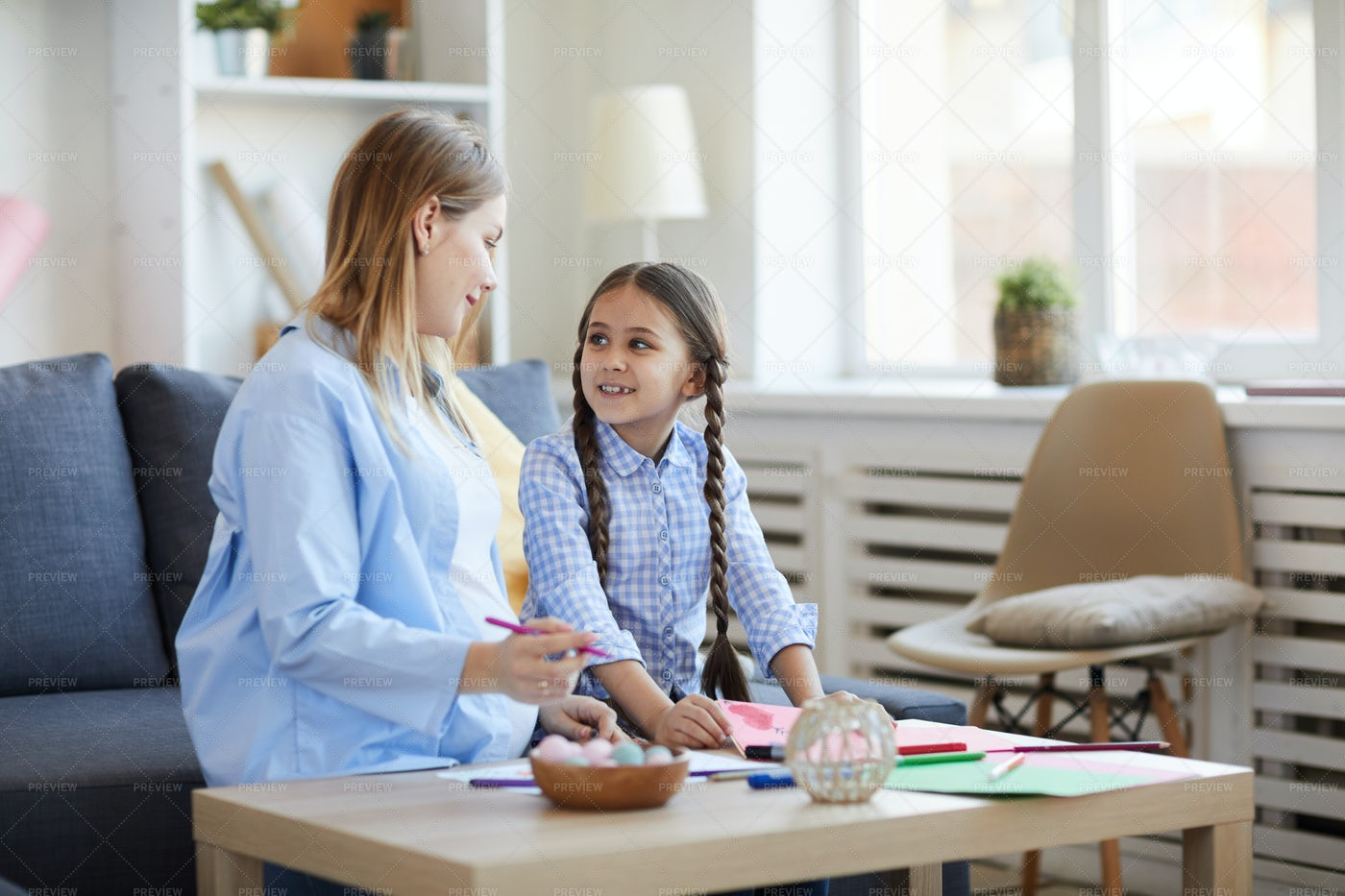 Mother And Daughter At Home: Stock Photos