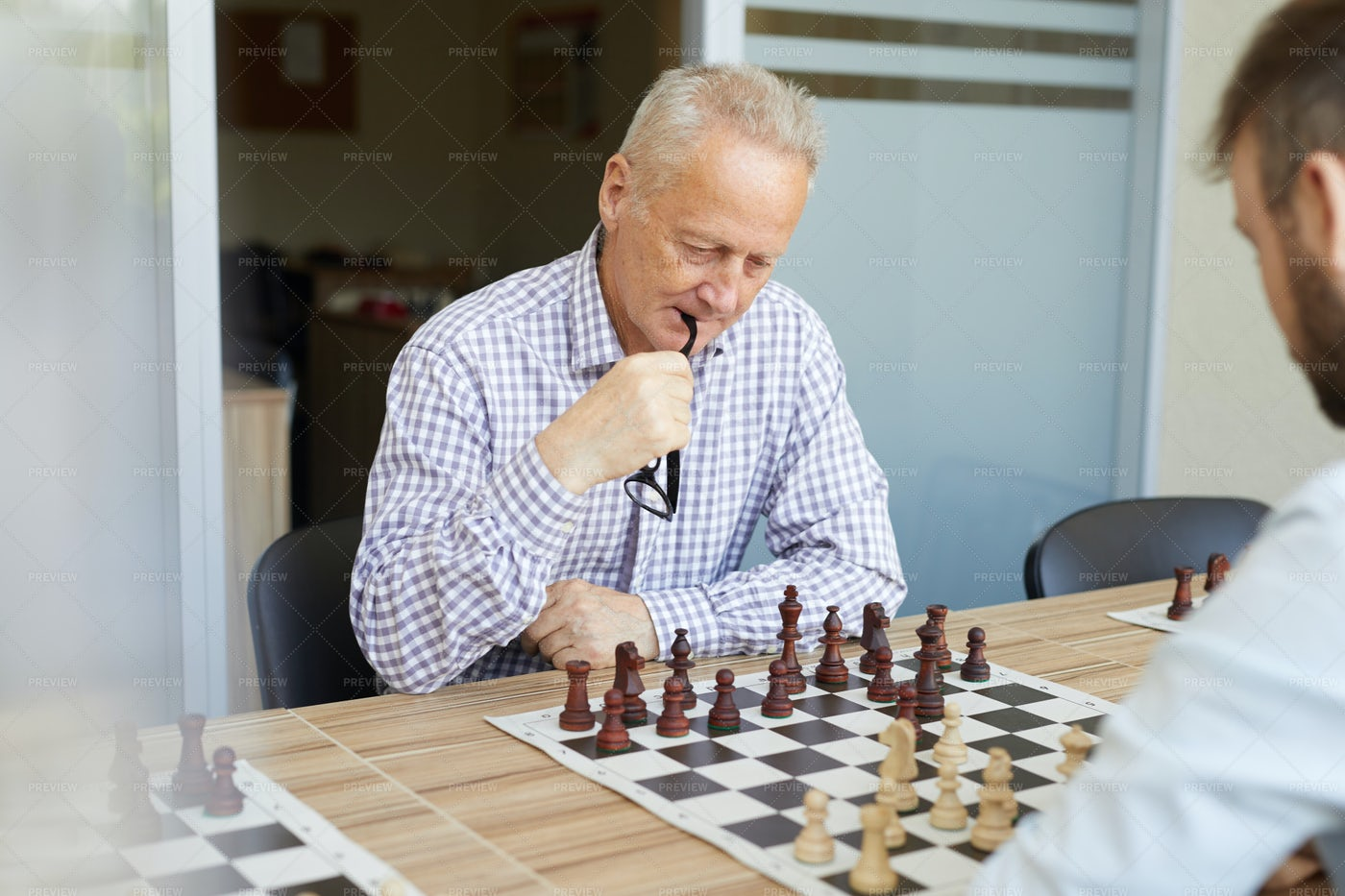 Playing Chess With Son: Stock Photos