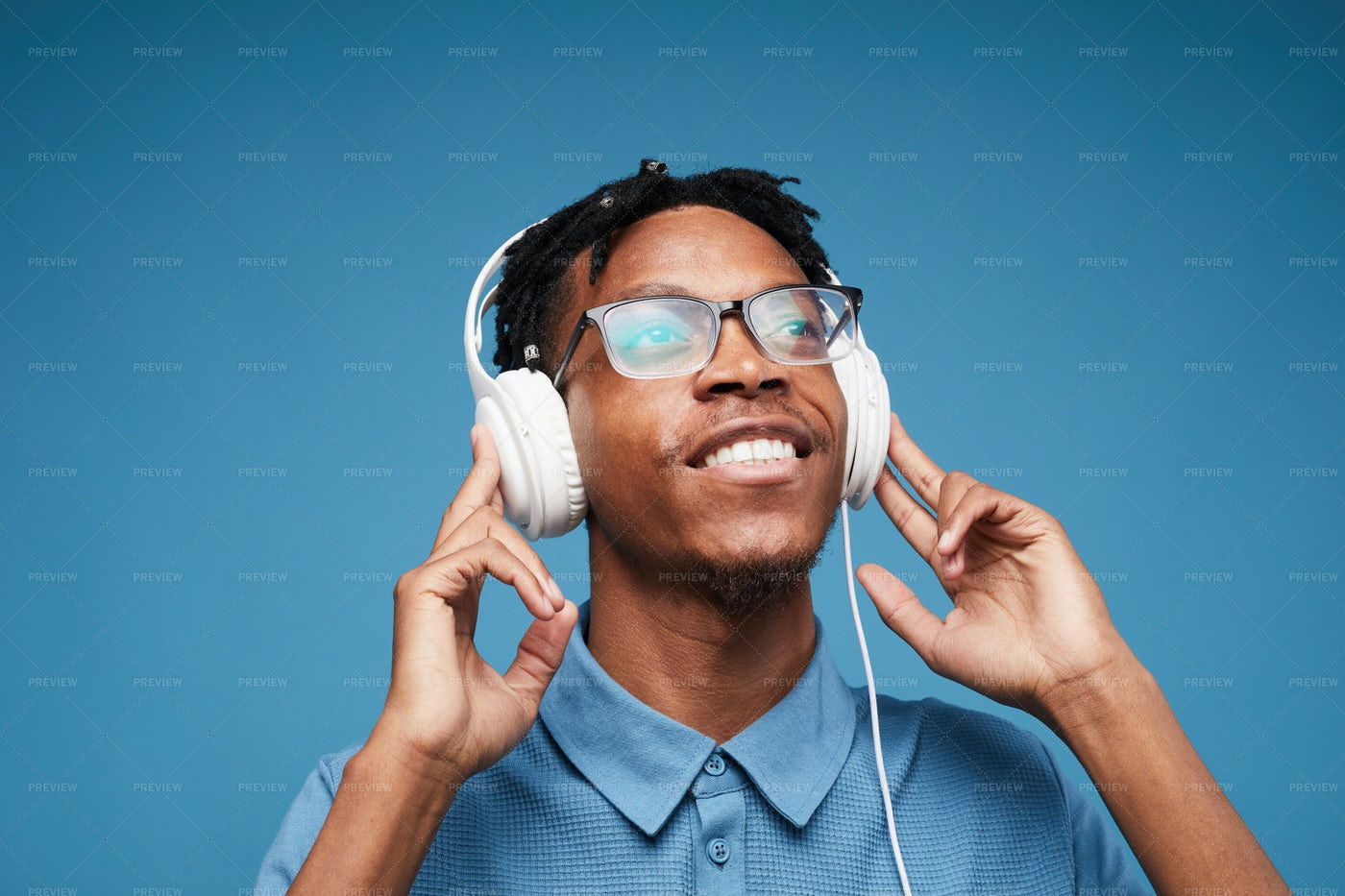 African-American Man Enjoying Music: Stock Photos