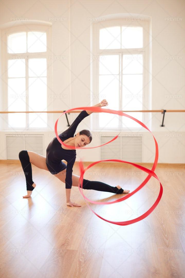 Slim Girl Dancing With Gymnastic...: Stock Photos