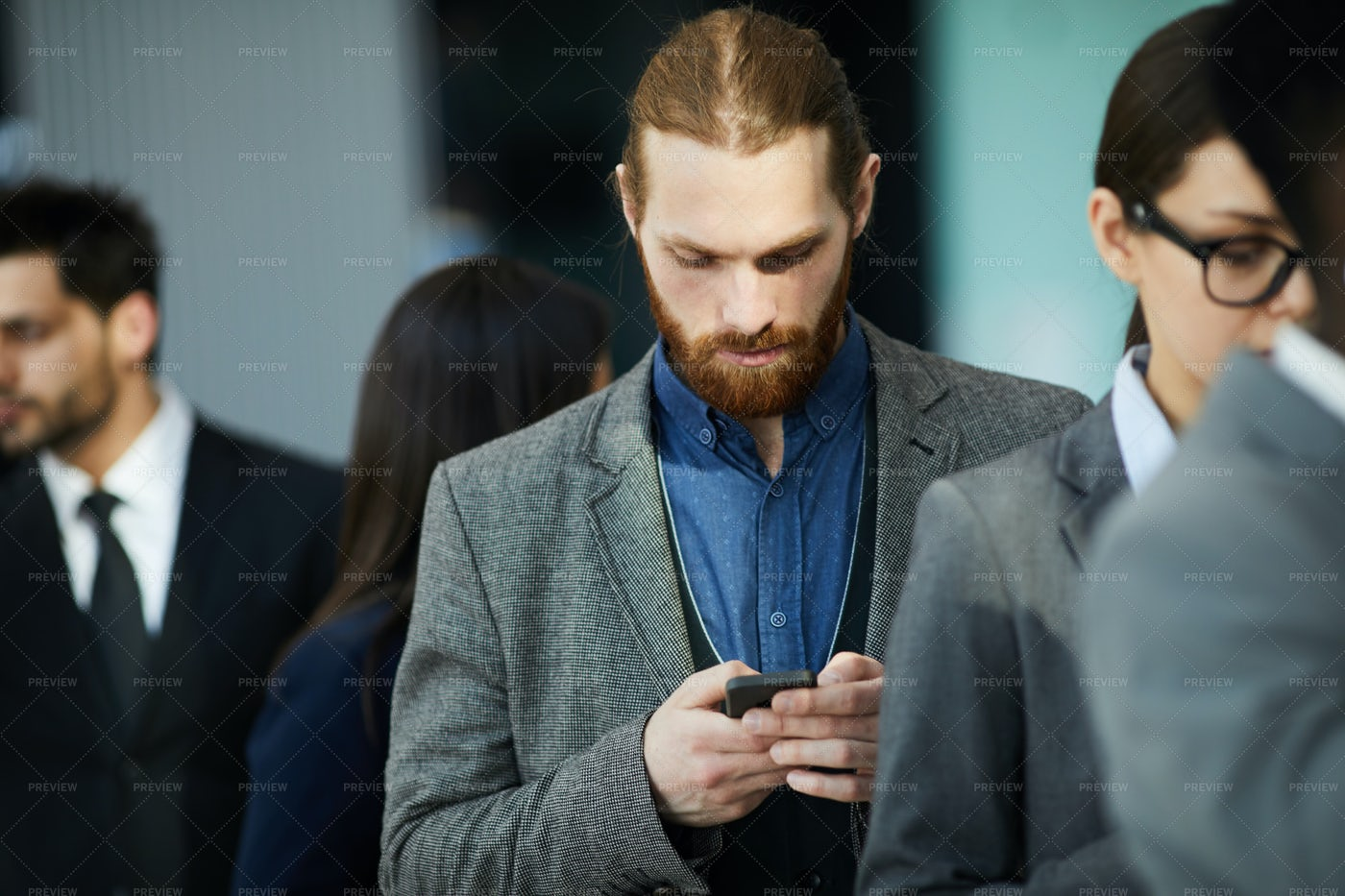 Businessman Waiting In Line: Stock Photos